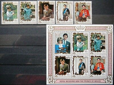 Penrhyn stamps and s.sheet. - Royal wedding - MNH.