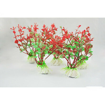 13X I926 5Pcs Red Green Plastic Plant Decor & Ceramic Base for Fish Tank Aquariu