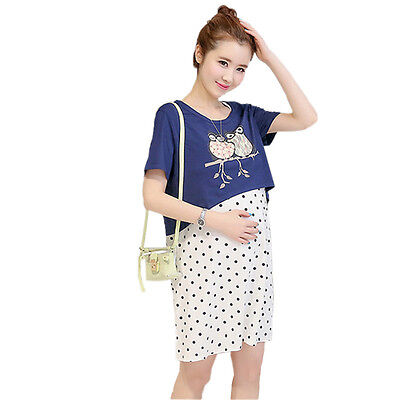 Summer Maternity Two-piece suit nursing Dresses Pregnancy Breastfeeding clothes