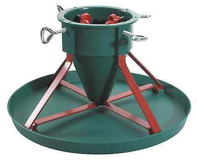 Christmas / Xmas Tree Stand Metal Frame - Red & Green With Plastic Plate