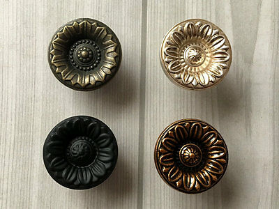 Flower Drawer Knob Dresser Pull Cabinet  Knob Antique Bronze Silver Black Brass