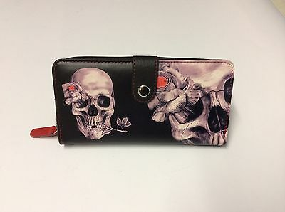 Skull Ladies Wallet Purse. Great Accessory. Black Leather. New. Gothic Style