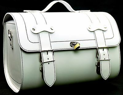 Medium Leather Top Case Roll Bag Vespa Primavera PX LXV GTS GTV White