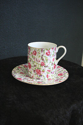 Bone China Chintz Pink Roses Cup and Saucer JAPAN