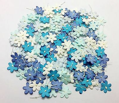 200 pcs Mixed Blue Colors4 Tiny Flowers Paper Card Making Scrap booking Crafts