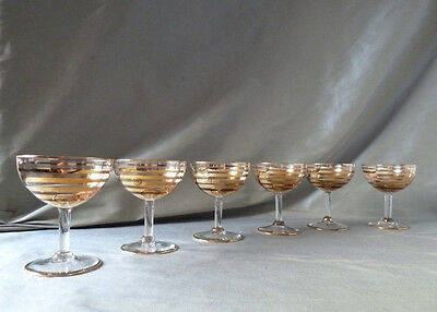 vintage gilded glass retro champagne glasses, Czechoslovakian, VGC