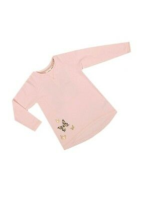 Bnwot Girls Pale Pink Tunic Sweatshirt With Black And Gold Butterfly Print 2-8 Y