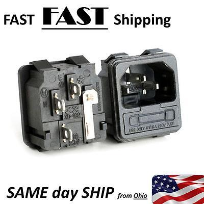 Snap-in Universal AC Power Socket 120V 15A with FUSE Holder IEC320 C14 - USA