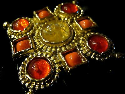 Vtg EDOUARD RAMBAUD Orange CLEAR Coral GRIPOIX Glass ETRUSCAN Cabochon Brooch