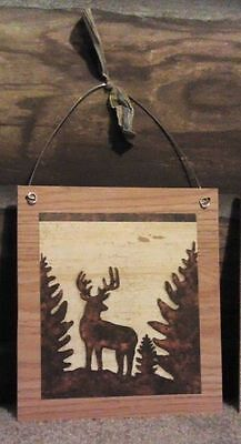 Rustic Picture Plaque Deer Lodge Log Cabin Wall Hangings Home Decor Buck Doe