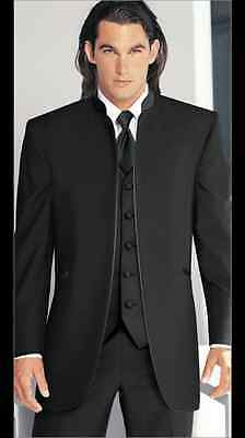 Tuxedo Coat Black Mirage 100% Wool Mandarin Nehru Collar