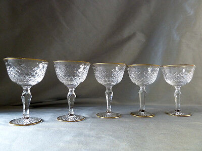 5 Stuart Crystal Victoria/Hardwicke cut gold trim champagne glasses, all signed
