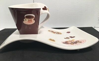 2 Sets Villeroy & Boch New Wave Caffe Espresso Cups & Plates Saucers Germany