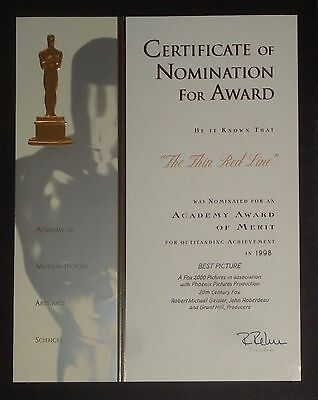 """Best Picture Academy Award® Nomination Certificate For """"the Thin Red Line"""" 1998"""