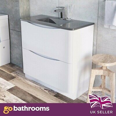 Eaton 900mm Floor Mounted Vanity Unit Gloss White with Grey Glass Basin