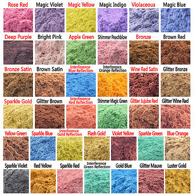10g Cosmetic Grade Natural Mica for Soap/Bath Bombs/Eyeshadow/Lipsticks 38 Color