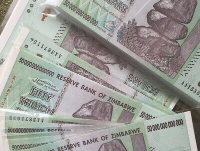 5 x Zimbabwe 50  Trillion Dollars, Uncirculated ,100 Trillion Series AA/2008
