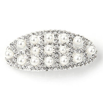 13X A598 63X29mm hair clip barrette pearl silver plating