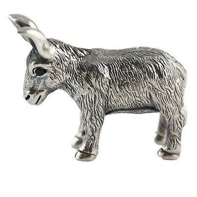 Collectable Victorian Style Donkey Figure Natural Sapphires 925 Sterling Silver