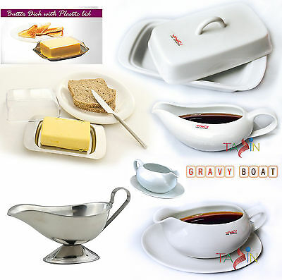 Gravy Boat Butter Dish Dishes with Lid Saucer Tableware Serving Dining Coockware
