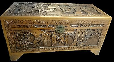Beautiful Oriental Heavily Carved Camphor Wood Box / Chest