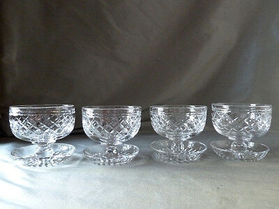 Tudor Crystal Seymour cut pudding bowls on attached saucers x4, all signed, VGC