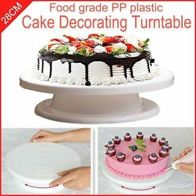NEW 11 inch Rotating Revolving Cake Plate Decorating Turntable Display Stand AU