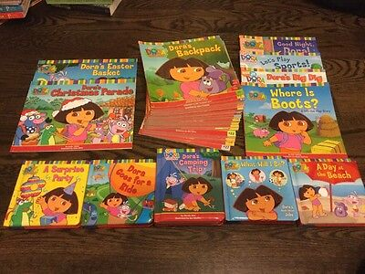 Lot of 38 Dora The Explorer Books Includes Lift Flap Books, Christmas, 1 Thru 27
