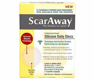 ScarAway Silicone Daily Scar Treatment Discs, Clear - 30 Count - EXP 2019