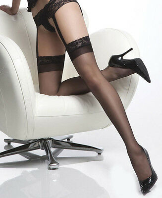 Sheer thigh high stockings with attached lace garter belt