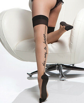 """Sheer Stockings """"This Way To Heaven"""" One Size"""