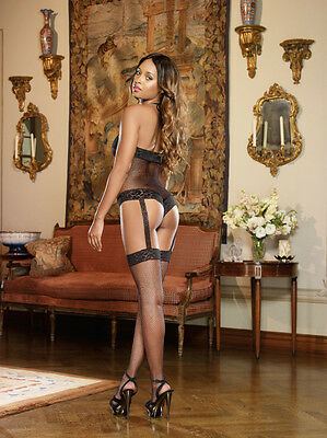 Opaque and fence net garter dress with attached thigh high stockings.