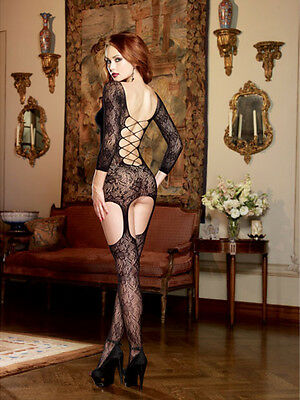 Stretch Lace Garter Dress w/Attached Garters & Thigh High Stockings Black O/S
