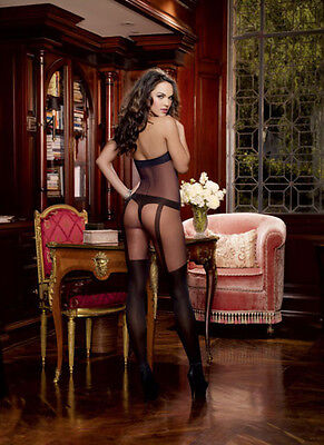 Sheer Halter Bodystocking w/Opaque Knitted Bra, Thong, Garters & Thigh Highs Bla