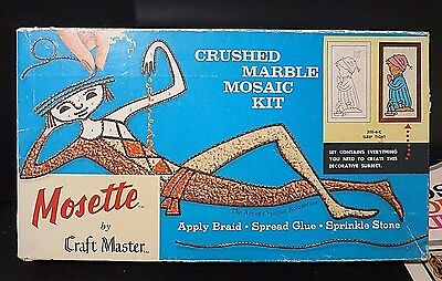 Vintage 1964 Mosette crushed Marble Mosaic kit by Craft Master NEW OLD STOCK