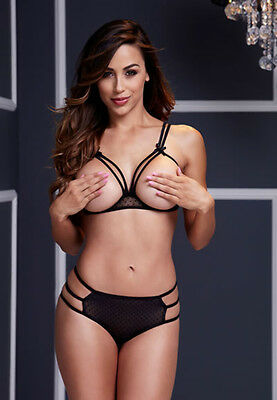 Strappy Open Cup Bra Set w Panty OS Black and Red