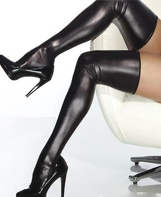 Wet Look Thigh High Stockings One Size and Queen