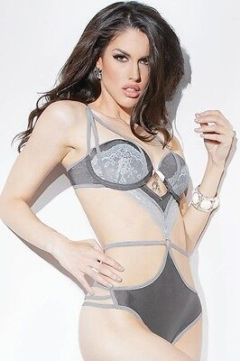 Stretch Knit and Scalloped Lace Strappy Teddy