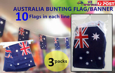 Pack of 10 x3 Australia Bunting Flag Banner Australia Day Decoration Party