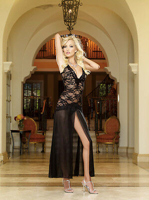 Stretch lace and chiffon gown 8489