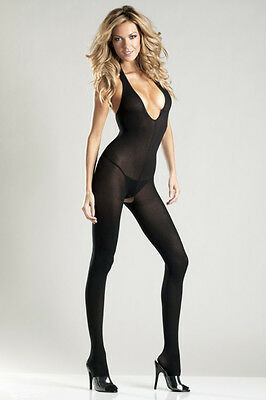Black Opaque Halter Top Body Stocking One Size and Queen