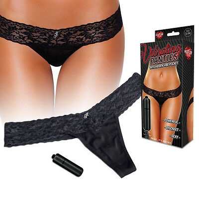 Hustler Lingerie's Vibrating Lace Thong Red and Black