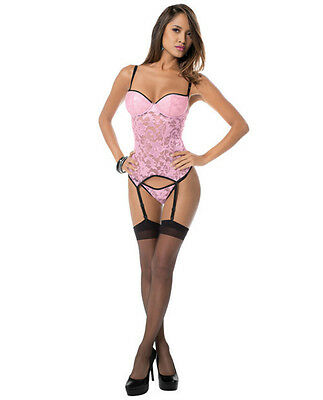 Lace Bustier W/Molded Cups & Thigh Highs