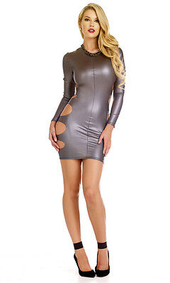 Long Sleeve Matte Coated Cut Out Bodycon Mini Dress