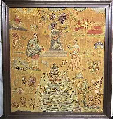 Rare antique English American pictorial sampler needlework signed and dated 21""