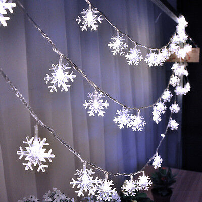 20 LED Snowflake String Curtain Window Light Christmas Wedding Party Decor