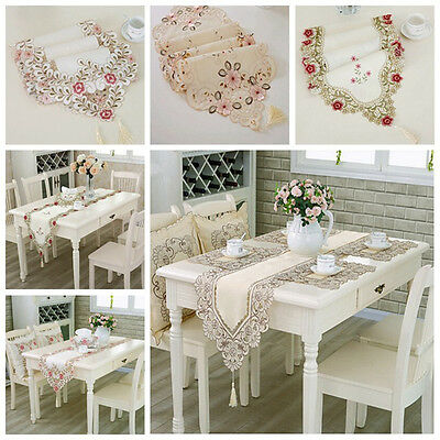 40*180cm Table Runner Embroidered Floral Lace Translucent Gauze Table Cloth New