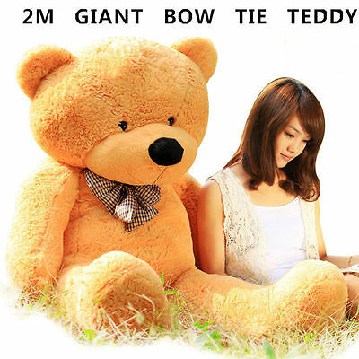 *skin Only* Huge 2M Giant Caramel Teddy Bear Bow Tie Cuddly Soft Plush Toy Doll