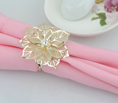 12Pcs 3D Flower Gold Napkin Ring Handmade Serviette Buckle Holder Wedding Dinner