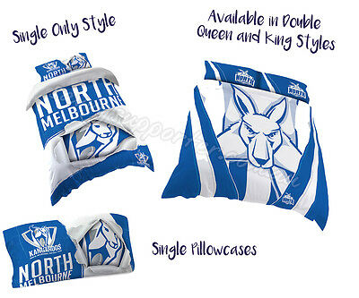North Melbourne Kangaroos 2017 AFL Quilt Cover Doona Pillowcase All Sizes